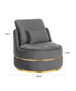 S4491 STONE VELVET - Easy Chair Kylie Stone velvet / gold