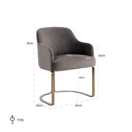 S4492 STONE VELVET - Chair Hadley Stone velvet / Brushed gold