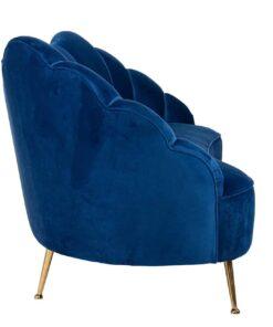 S5120 BLUE VELVET - Sofa Cosette 3-seats Blue Velvet / gold