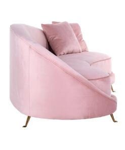 S5122 PINK VELVET - Sofa Bourbon with 2 pillows Pink Velvet / Gold