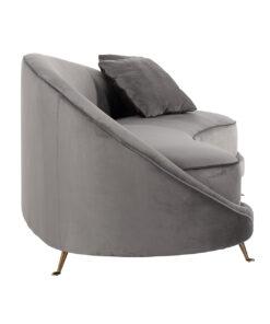 S5122 STONE VELVET - Sofa Bourbon with 2 pillows Stone Velvet / Gold