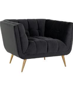 S5125 ANTRACIET VELVET - Easy Chair Huxley Antraciet velvet / Brushed gold